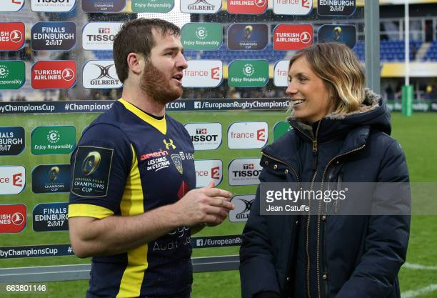 Camille Lopez of ASM Clermont talks to Clementine Sarlat of France Televisions following the European Rugby Champions Cup quarter final match between...