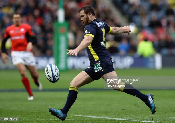 Camille Lopez of Clermont Auvergne clears the ball upfield during the European Rugby Champions Cup Final between ASM Clermont Auvergen and Saracens...
