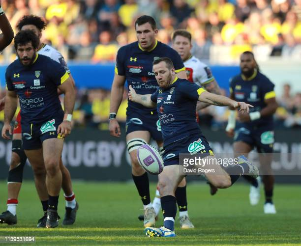 Camille Lopez of Clermont Auvergne kicks the ball upfield during the Challenge Cup Quarter Final match between Clermont Auvergne and Northampton...