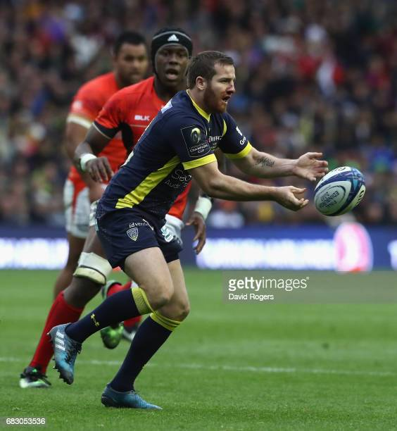 Camille Lopez of Clermont Auvergne passes the ball during the European Rugby Champions Cup Final between ASM Clermont Auvergen and Saracens at...