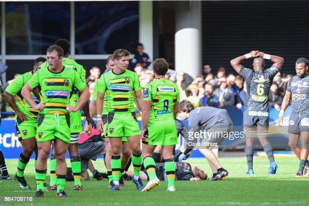 Camille Lopez of Clermont breaks his leg during the European Rugby Champions Cup match between Clermont Auvergne and Northampton Saints on October 21...