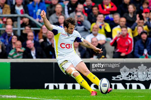 Camille Lopez of Clermont kicks a penalty during the European Rugby Champions Cup Final match between ASM Clermont Auvergne and RC Toulon at...