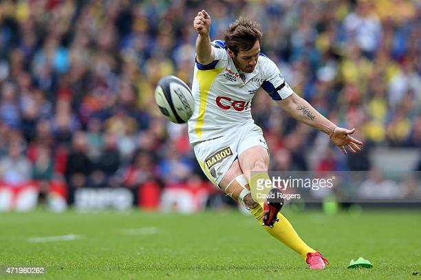 Camille Lopez of Clermont kicks at goal during the European Rugby Champions Cup Final match between ASM Clermont Auvergne and RC Toulon at Twickenham...