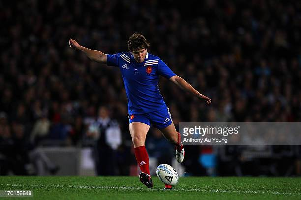 Camille Lopez of France kicks a penalty during the first test match between the New Zealand All Blacks and France at Eden Park on June 8 2013 in...