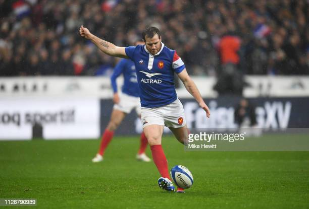Camille Lopez of France kicks a penalty during the Guinness Six Nations match between France and Wales at Stade de France on February 01 2019 in...