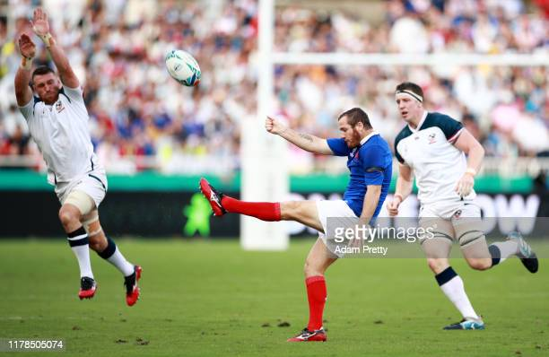 Camille Lopez of France kicks the ball during the Rugby World Cup 2019 Group C game between France and USA at Fukuoka Hakatanomori Stadium on October...