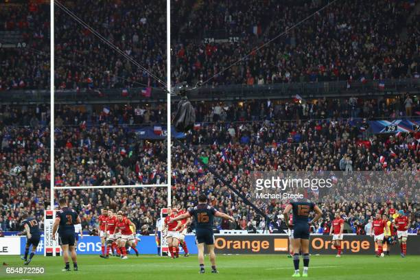 Camille Lopez of France wins the game with a last minute conversion after a try to claim a 2018 victory during the RBS Six Nations match between...