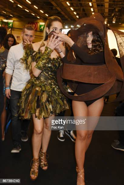 Camille Lou and Silvia Notargiacomo attend the 'Salon Du Chocolat 2017 Chocolate Fair' Auction Show in Benefit of Mecenat Chirurgie Cardiaque at Parc...