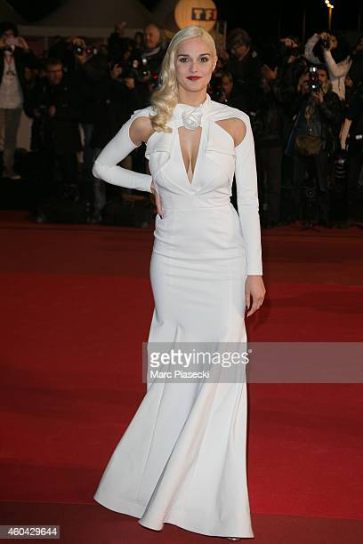 Camille Lou arrives to attend the '16th NRJ Music Awards 2014' ceremony at Palais des Festivals on December 13 2014 in Cannes France