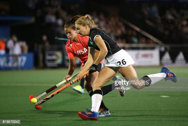 Camille Nobis of Germany battles with Lucina von der Heyde of Argentina during day 7 of the FIH Hockey World League Women's Semi Finals semi final...