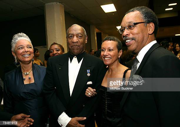 Camille O Cosby comedian Bill Cosby Tawana Tibbs and NAACP President Bruce Gordon backstage during the 38th annual NAACP Image Awards held at the...