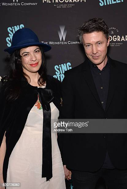 Camille O'Sullivan and actor Aidan Gillen attend at The Weinstein Company hosts the premiere of 'Sing Street' at Metrograph on April 12 2016 in New...