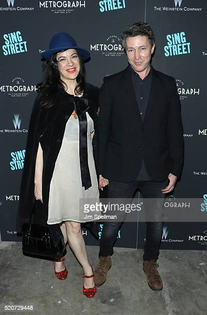 Camille O'Sullivan and actor Aidan Gillen attend the premiere of Sing Street hosted by The Weinstein Company at Metrograph on April 12 2016 in New...