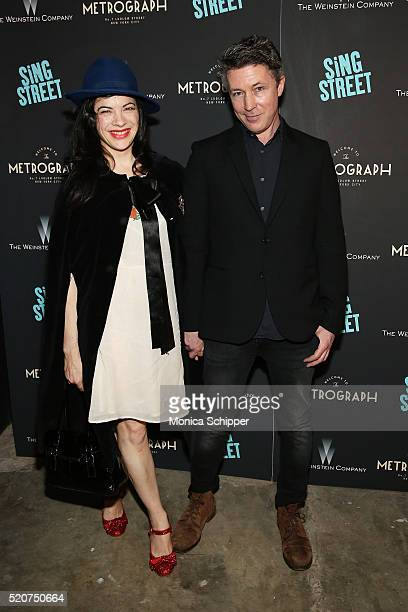 Camille O'Sullivan and actor Aidan Gillen attend The Weinstein Company Hosts The Premiere of Sing Street at Metrograph on April 12 2016 in New York...