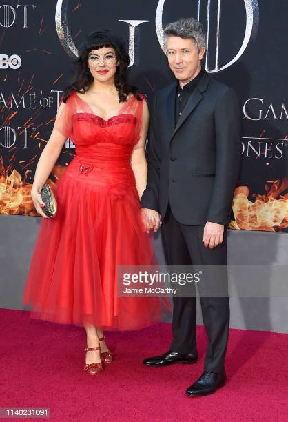Camille O'Sullivan and Aidan Gillen attend the Game Of Thrones Season 8 Premiere on April 03 2019 in New York City