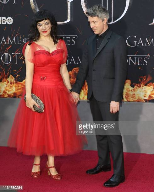 Camille O'Sullivan and Aidan Gillen attend the Season 8 premiere of Game of Thrones at Radio City Music Hall on April 3 2019 in New York City