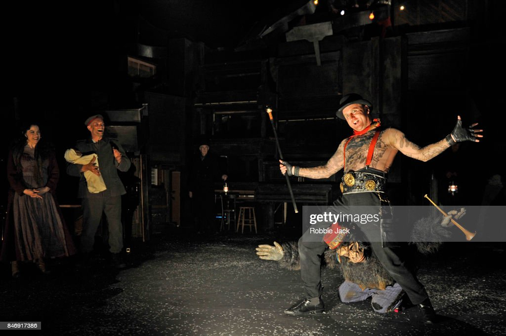 Camille O'Sullivan as Marie, Patrick O'Kane as Woyzeck, Barry McGoveren as Doctor, Rory Nolan as Showman and Susannah De Wrixon as Monkey in Conall Morrison's Woyzeck in Winter directed by Conall Morrison at The Barbican on September 13, 2017 in London, England.