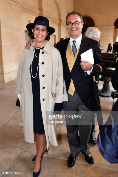 Camille Pascal and his wife Caroline Pascal attend the Wedding of Prince JeanChristophe Napoleon and Olympia Von ArcoZinneberg at Les Invalides on...
