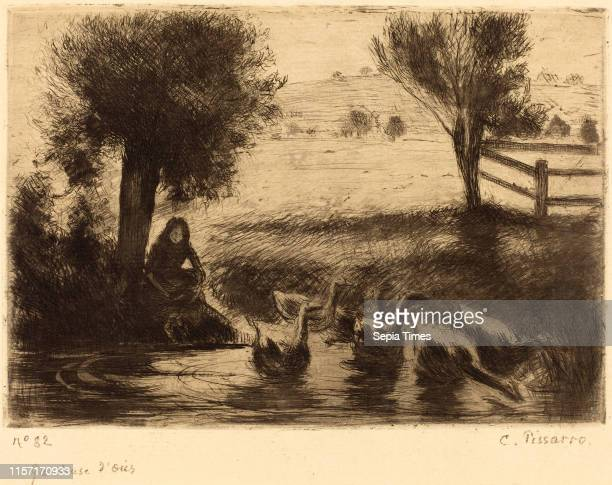 Camille Pissarro Goose Girl etching and drypoint