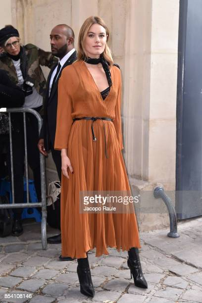 Camille Rowe is seen arriving at Dior fashion show during Paris Fashion Week Womenswear Spring/Summer 2018 on September 26, 2017 in Paris, France.