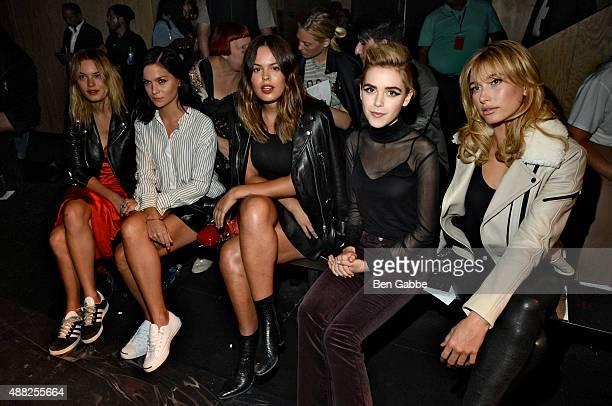 Camille Rowe Leigh Lezark Atlanta de Cadenet Taylor Kiernan Shipka and Hailey Baldwin attend the rag bone Spring 2016 fashion show during New York...