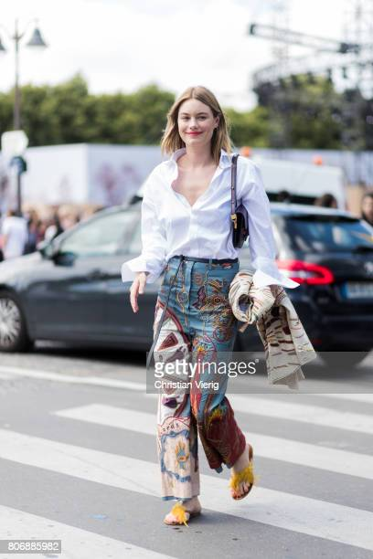 Camille RowePourcheresse outside Dior during Paris Fashion Week Haute Couture Fall/Winter 20172018 Day Two on July 3 2017 in Paris France