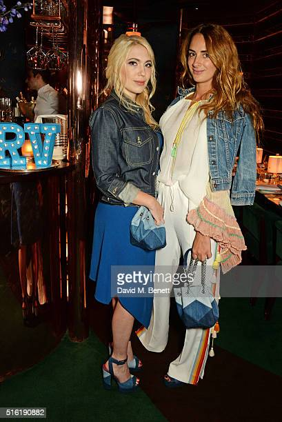 Camille Seydoux and Alexia Niedzielski attend a dinner hosted by Roger Vivier to celebrate the Prismick Denim collection by Camille Seydoux at Casa...