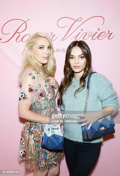 Camille Seydoux and Lola Le Lann attend the Roger Vivier Prismick Denim Party at Rue Du Faubourg SaintHonoré on March 7 2016 in Paris France