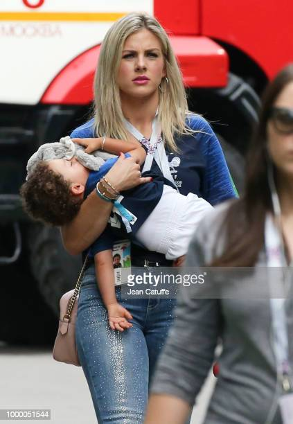 Camille Tytgat wife of Raphael Varane of France during the 2018 FIFA World Cup Russia Final match between France and Croatia at Luzhniki Stadium on...