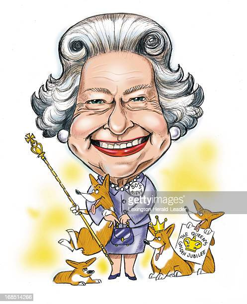 Camille Weber color caricature of Britain's Queen Elizabeth II