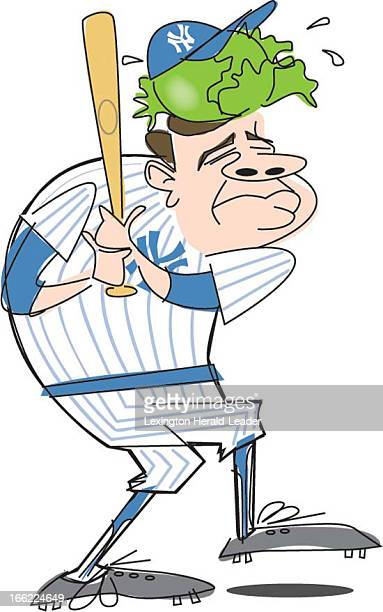 Camille Weber color illustration of Babe Ruth wearing a cabbage leaf under his baseball cap to keep his head cool