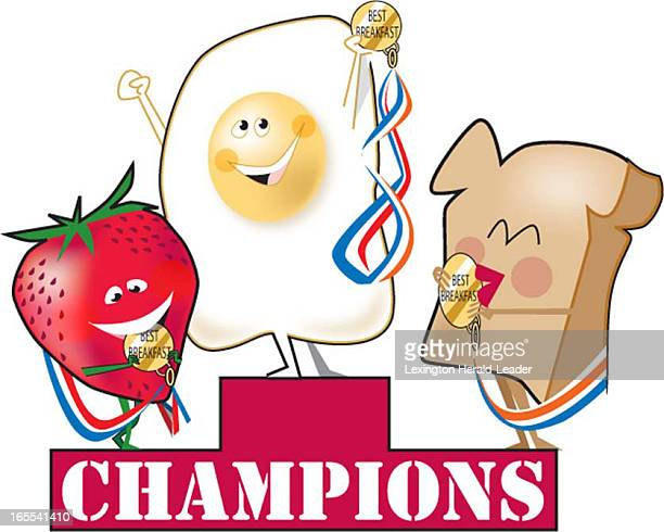 Camille Weber color illustration of breakfast food champions toast egg and fruit at podium with gold medals