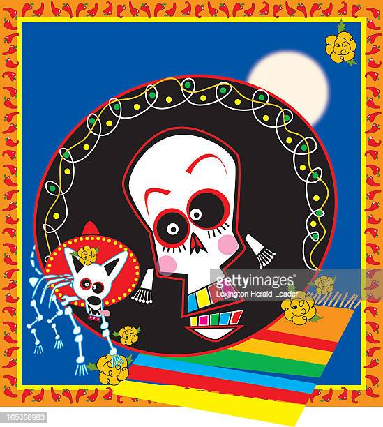 Camille Weber color illustration of brightly colored skeleton figures of man and dog for Day of the Dead celebration