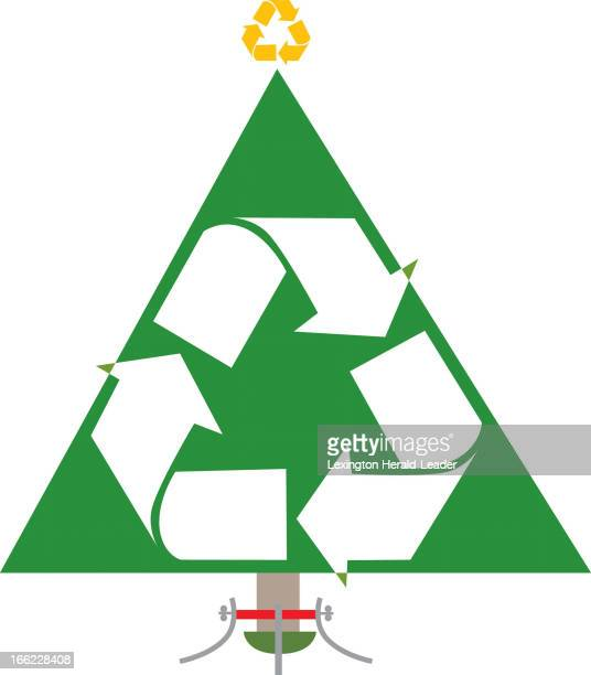 Camille Weber color illustration of Christmas tree in stand covered with recycle logo on tree and recycle logo on top of the tree as star