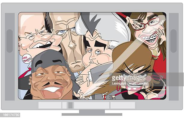 Camille Weber color illustration showing caricatures of Kelsey Grammer Hugh Laurie Jay Leno America Ferrera LL Cool J and Paula Abdul