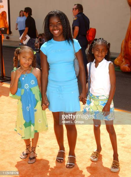 Camille Winbush and cousins Zurie and Zakiyyah during Garfield The Movie World Premiere Arrivals at The Zanuck Theater in Los Angeles California...