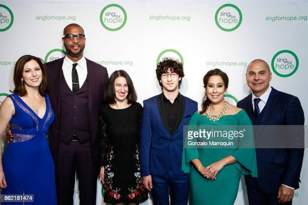 Camille Zamora Andre Brown Monica Yunus with Lukas BarwinskiBrown during the Sing for Hope Gala 2017 at Tribeca Rooftop on October 16 2017 in New...