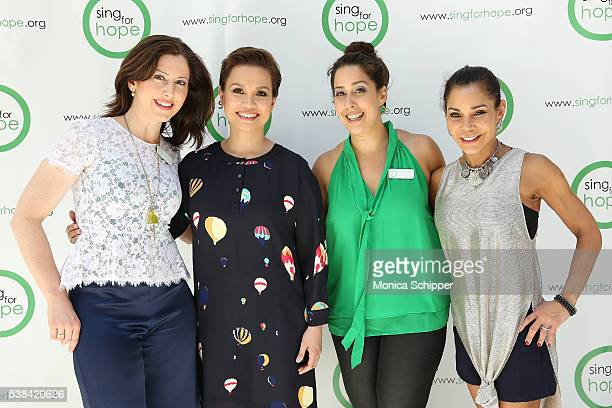 Camille Zamora Lea Salonga Monica Yunus and Daphne RubinVega attend The 2016 Sing For Hope Pianos launch event on June 6 2016 in New York City