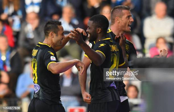 Camillo Ciano of Frosinone Calcio celebrates after scoring his team second goal with team mates during the Serie A match between SPAL and Frosinone...