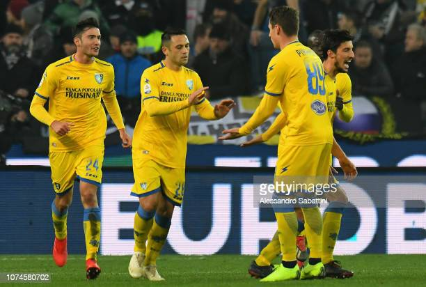 Camillo Ciano of Frosinone Calcio celebrates after scoring the 11 goal with team mates during the Serie A match between Udinese and Frosinone Calcio...