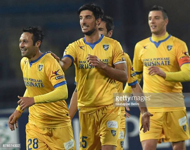 Camillo Ciano of Frosinone Calcio celebrates after scoring the opening goal the Serie A match between Empoli FC and Frosinone Calcio at Stadio Carlo...