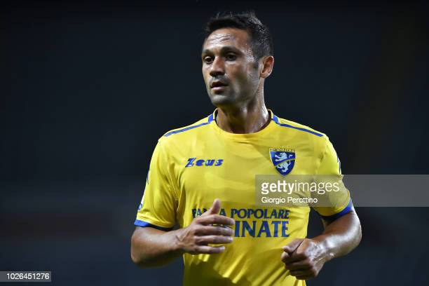 Camillo Ciano of Frosinone Calcio reacts during the serie A match between Frosinone Calcio and Bologna FC at Olimpico Stadium on August 26 2018 in...