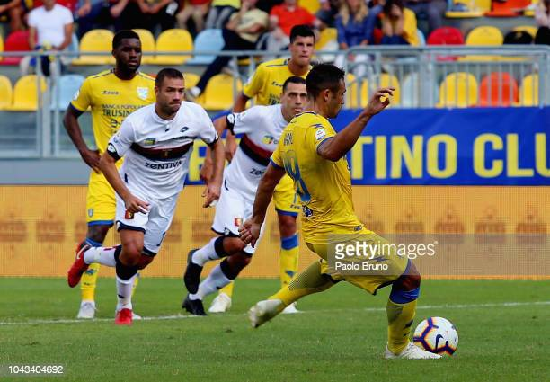 Camillo Ciano of Frosinone Calcio scores the team's first goal from penalty spot during the Serie A match between Frosinone Calcio and Genoa CFC at...