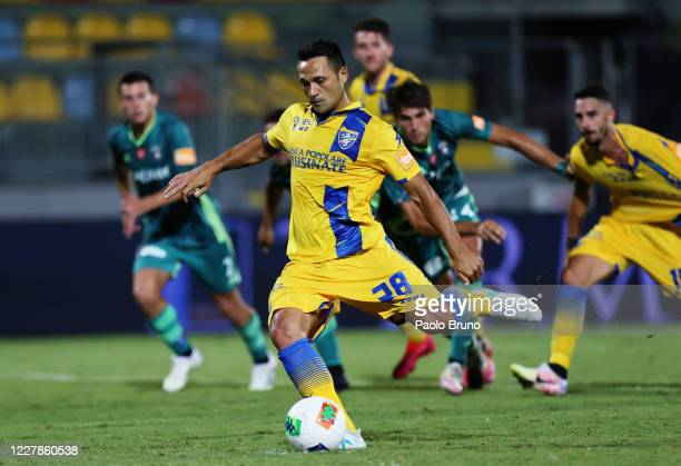 Camillo Ciano of Frosinone Calcio scores the team's first goal from penalty spot during the Serie B match between Frosinone Calcio and SC Pisa at...