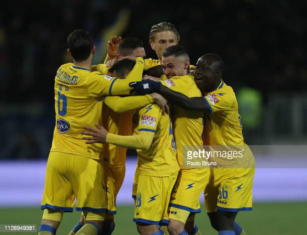 Camillo Ciano with his teammates of Frosinone Calcio celebrates after scoring the opening goal during the Serie A match between Frosinone Calcio and...