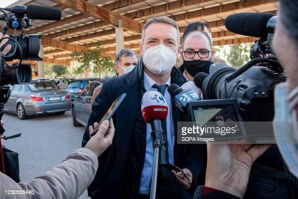 Camillo Falvo, prosecutor of Vibo Valentia speaks to press at the entrance of the site. Italian Minister of Justice Alfonso Bonafede and anti-mafia...