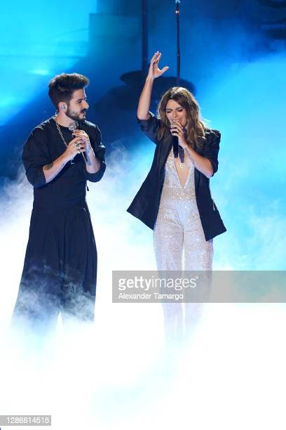 Camilo and Kany García perform onstage during The 21st Annual Latin GRAMMY Awards at American Airlines Arena on November 19, 2020 in Miami, Florida.