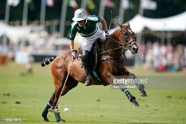 Camilo Castagnola in action for Dubai during the King Power Gold Cup Final British Open Polo Championship between Dubai and VS King Power at Cowdray...