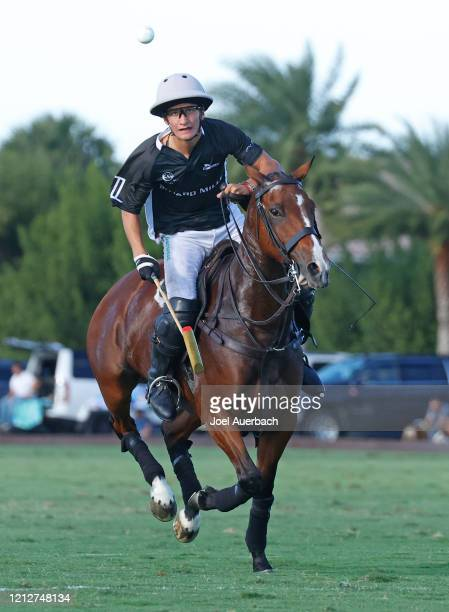 Camilo Castagnola of Richard Mille plays the ball against Valiente during The Palm Beach Open on March 15 2020 at the Grand Champions Polo Club in...