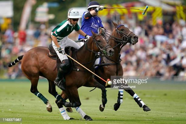 Camilo Castagnola with the ball for Dubai during the King Power Gold Cup Final British Open Polo Championship between Dubai and VS King Power at...